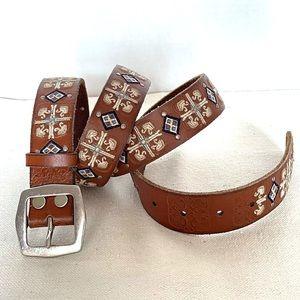 Lucky Brand Women Woven/Studded Brown Leather Belt